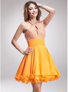 A-Line/Princess Halter Short/Mini Chiffon Homecoming Dress With Ruffle Beading (022010019) - JJsHouse