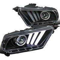 Cheap Ford Mustang Black Clear Projector Headlights LED DRL Bar Sequential sale
