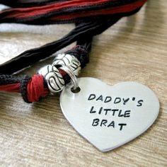 Daddy's Little Brat Necklace, Ribbon Necklace, DDlg Necklace, Daddy's girl Collar, Daddy's Brat, Ribbon BDSM Collar, DDLG collar, Pet gift by TheTwistedScrew on Etsy https://www.etsy.com/dk-en/listing/467059969/daddys-little-brat-necklace-ribbon