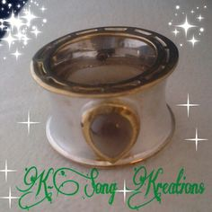 $78 White gold sterling Smokey quartz tear drop cab. Cigar band ring. Size 6
