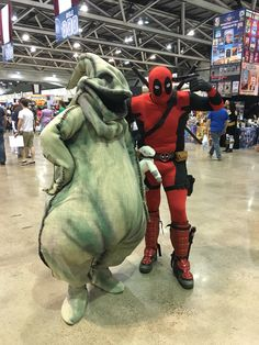 Oogie Boogie with Deadpool at Planet Comicon 2016 #nightmarebeforechristmas #deadpool