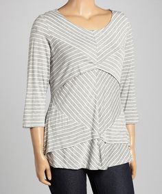 Another great find on #zulily! Heather Gray & White Stripe Tiered Top - Plus by Allie & Rob #zulilyfinds
