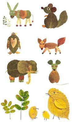 Cuadros con animales hechos de hojas de árboles :) #manualidades para niños
