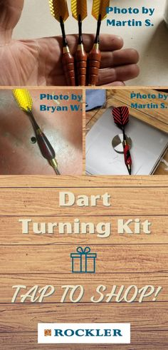 We offer a number of different turning kits--even for darts! Turning kits make the perfect gift for a woodworker. Tap here to shop our selection.  #createwithconfidence #rocklerkits #turningkits #giftgiving Rockler Woodworking, Beginner Woodworking Projects, Wood Turning Projects, Fun Projects, Lathe Accessories, Wood Working For Beginners, Darts, Crafts To Sell, Gifts For Dad