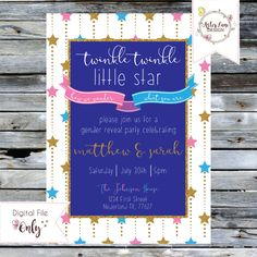 Gender Reveal TWINKLE TWINKLE Invitation Pink and Blue by AsterLaneDesign on Etsy https://www.etsy.com/listing/293189303/gender-reveal-twinkle-twinkle-invitation