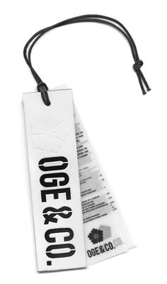 OGE & CO. #hangtag Label Design, Branding Design, Hangtag Design, Swing Tag Design, Fashion Identity, Swing Tags, Denim Branding, Clothing Labels, Brand Packaging
