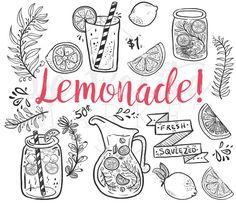 Doodle Hand Drawn Lemonade Summer Clip Art, Mason Jar Clipart, Lemonade themed Illustration Clipart, PNG Lemon, DIY Coloring