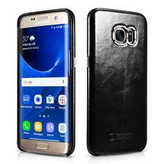 ICARER для Galaxy S 7 edge Hard Cover Сумки Старинные Подлинной кожа С Покрытием Hard Case для Samsung Galaxy S7 edge G935-черный