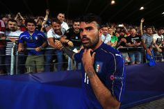 Andrea Petagna of Italy celebrates victory with fans after the 2017 UEFA European Under-21 Championship Group C match between Italy and Germany at Stadion Cracovia on June 24, 2017 in Krakow, Poland.