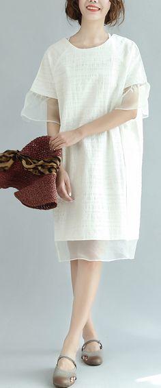 white casual vintage summer dresses ruffles plus size cotton sundress puff sleeve mid dress
