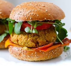 """White Bean Burgers: As you can see in these white bean burgers with """"cheese"""" and """"bacon,"""" with a little imagination, vegans can enjoy the comforts of these classic flavors. The white beans make for a tasty patty, and you'll get that smoky flavor you love with the replacement bacon."""