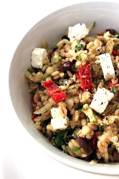 Sun-Dried Tomato, Feta, & Barley Salad. I would try wheat berries with this too