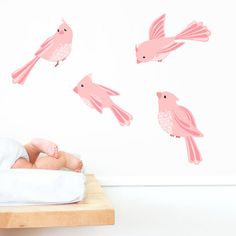Add a little sparkle and shine to any room with this sweet repositionable cloth decal.  These sweet birds are ready to sing a song in your little