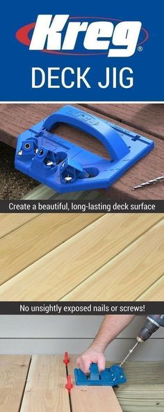 Whether you're building a new deck or refinishing an old one, you want to do the job right. With the Kreg Deck Jig, and a few simple tools you already own, you can create a beautiful and functional deck surface that is completely free of exposed fasteners and painful splinters. #deckdesigntool #deckbuildingtools #buildingadeck