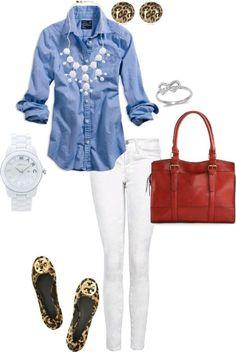 White pants, denim shirt, classic summer look.