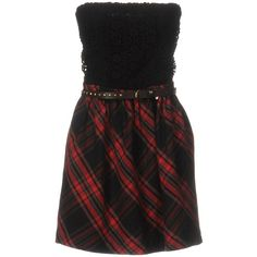 Tommy Hilfiger Denim Short Dress ($120) ❤ liked on Polyvore featuring dresses, black, flare dress, short plaid dress, deep v-neck dress, flare mini dress and sleeveless short dress
