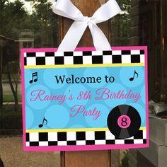 Fifties Sock Hop Party Door Sign - Poodle Skirt
