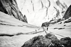 CJ Pearson rappells down the lower portion of the Chicken Couloir on the West Rib climbing route on Denali, Denali National Park, Alaska