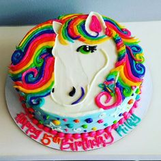 Our online cake store has produced a niche place for itself due to the large catalog of cakes and cupcakes that could easily satisfy the wider assortment of taste buds. Horse Birthday Parties, Birthday Cake Girls, Horse Birthday Cakes, Unicorn Birthday, Unicorn Party, Birthday Ideas, Unicorn Cakes, Rainbow Unicorn, 8th Birthday