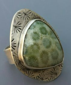 embossed sterling silver with green fossil coral ring