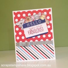 This card was created by Denise Tarlinton. Inspired by a card design by Vandra Stenton, this card features the July Stamp of the Month, From the Notebook, the Operation Smile stamp set, Animal Greetings and Magical B&T Paper. Find out more about these products at www.ScrapStampShare.ctmh.com.au