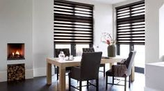 [ Dining Room Curtains Window Treatments Budget Blinds Beautiful Traditional Design With Two Story Windows Round ] - Best Free Home Design Idea & Inspiration Fabric Blinds, Wood Blinds, Curtains With Blinds, Dining Room Curtains, Dining Room Windows, Cortina Roller, Window Accessories, Budget Blinds, Modern Interior