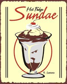 Hot Fudge Sundae Vintage Metal Ice Cream Shop Sign - Ice Cream _ Dairy Retro Signs Retro Vintage Wall Decor, Restaurant Art, Theme De - Old ...
