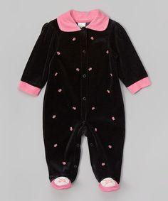 Look at this #zulilyfind! Black & Pink Velour Collar Footie - Infant #zulilyfinds