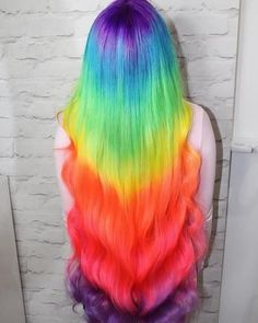 Neon Peach Hair Color (Clean Vibrant Peach) 😱😱😱 Amazing rainbow hair using in Pon Peach Hair Colors, Cute Hair Colors, Pretty Hair Color, Hair Color Purple, Hair Dye Colors, Blonde Color, Rainbow Hair Colors, Rainbow Dyed Hair, Hidden Rainbow Hair