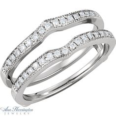 14k White Gold 1/4 ct tw Diamond Antique Style Ring Guard, F2397