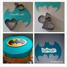 Batman cutouts from heart cookie cutters Batman cutouts from h. - Batman cutouts from heart cookie cutters Batman cutouts from heart cookie cutters - Fondant Cake Toppers, Cake Icing, Fondant Cakes, Cupcake Cakes, Fondant Cake Tutorial, Cakes To Make, How To Make Cake, Cake Decorating Techniques, Cake Decorating Tutorials