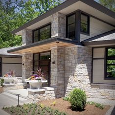 Custom Fond du Lac & Mill Creek Tailored Blend stone veneer is used for the interior stone fireplace, stone wall & exterior stone facade. Stone Exterior Houses, Dream House Exterior, Exterior House Colors, Stone Houses, Modern Exterior, Exterior Design, Wall Exterior, Back Porch Designs, Stone Facade
