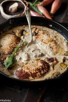 Pork Loin Steaks in Creamy Shallot and Mushroom Sauce by vikalinka: Juicy pork loin steaks in luscious shallot and mushroom sauce that are ready in 15 minutes! #Pork #Mushroom #Shallot #Fast