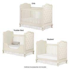 "Bertini Tinsley 3-in-1 Upholstered Crib - Antique White - Bertini - Babies ""R"" Us"