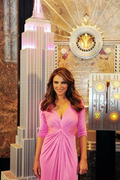 Actress/Model Elizabeth Hurley and William Lauder of Estee Lauder visited the 86th floor Observatory and VIP 103rd floor today after taking part in the ceremony for tonight's Breast Cancer Awareness Campaign lighting.