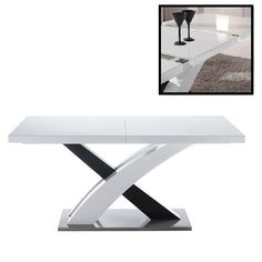 Axara Extendable Dining Table In White High Gloss With Stainless Steel BaseIt has Mixed White and Black High Gloss Finish: White& Black High Gloss With Stainless Steel Base Features: Small Sideboard, Modern Sideboard, White Glass Dining Table, Grande Table A Manger, Large Tv Stands, Extension Dining Table, Small Dining, Innovation Design