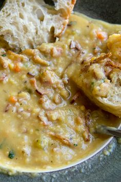 Golden Split Pea Soup with Smoked Ham and Crispy-Fried Onions Recipe ~ yummy and filling!