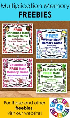 Need some extra multiplication practice for your classroom?  Visit games4gains.com to download our multiplication memory freebies!