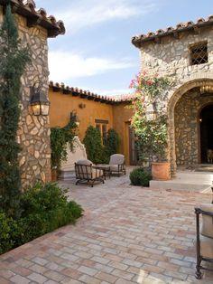 Spanish Garden, Spanish House, Spanish Style, Spanish Colonial, Southwestern Home, Front Courtyard, Adobe House, Italian Villa, Organic Gardening Tips