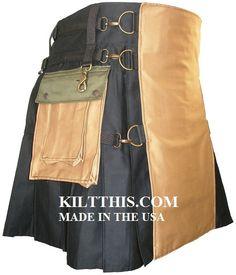 Utility Kilts Handmade 3 Tone Black Khaki Green Rvsbl Apron Lg Cargo Pkts Interch Parts on Etsy, $270.00