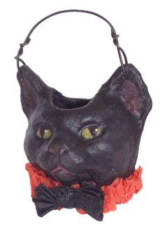 Halloween Candy Container, cotton fiber paper mache made with an antique chocolate mould. Handmade by Kitty Nikolai. Halloween Paper Crafts, Retro Halloween, Halloween Items, Spooky Halloween, Vintage Halloween Images, Vintage Halloween Decorations, Stray Cat Strut, Primitive Fall, Sculpture