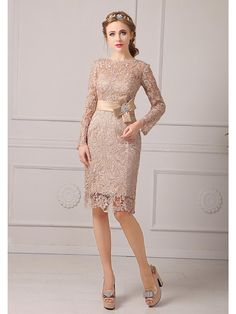 Vestido de Madrina - Champaña Corte Recto Hasta la Rodilla Encaje Tallas pequeñas - USD $89.99