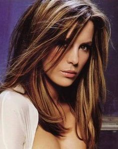 Not sure i could do the highlights with my fair skin, but looking at this for fall - kate beckinsale hair - LOVE this hair color!!!