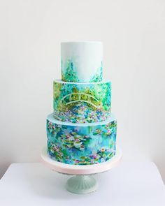 A Monet inspired birthday cake for a birthday. I hope that your day is as tranquil as Monet's garden. Beautiful Cakes, Amazing Cakes, Food Artists, Watercolor Cake, Hand Painted Cakes, Cupcake Cookies, Birthday Cookies, Cupcakes, Pie Cake