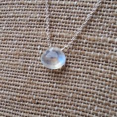 Moonstone Simple Drop Sterling Silver Necklace by magnoliajeweldesigns.  Bridesmaid gift jewelry.