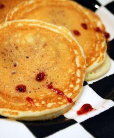 "Jam filled ""vampire pancakes"".  A must for Halloween breakfast!"