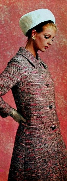 Libelle (Belgian edition) January 1965  Pink-grey tweed coat. I have a similar hat. So cute.