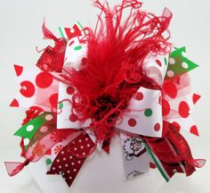 Christmas Explosion Bling Over the Top Hair Bow with matching headband on Etsy, $19.99