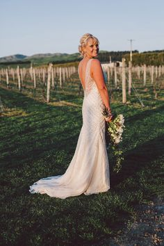 A New Zealand Winery Wedding at the beautiful Poppies Martinborough with a chic, sophisticated feeling Wedding Bride, Rustic Wedding, Wedding Dresses, Vineyard Wedding, Bridal Looks, New Zealand, Poppies, Gowns, Chic