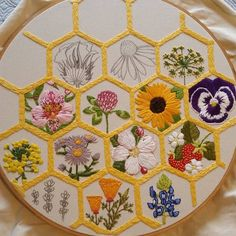 Transcendent Satin Stitch Flower Hand Embroidery Ideas bees needed to polonate as more holy is needed Hand Embroidery Stitches, Embroidery Hoop Art, Cross Stitch Embroidery, Cross Stitch Patterns, Embroidery Designs, Crewel Embroidery, Embroidery Books, Cross Stitching, Embroidery Flowers Pattern